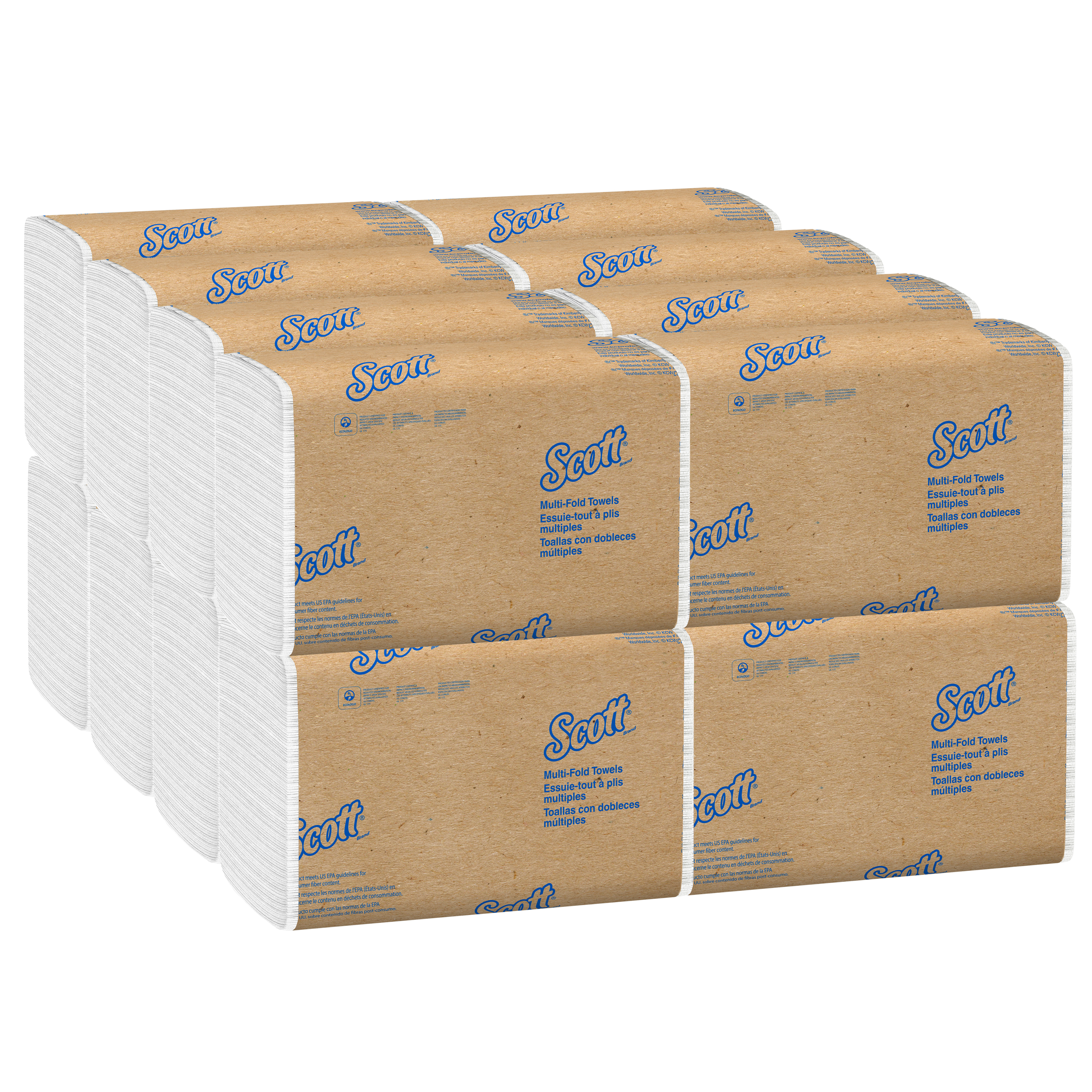 Picture of KC 1804 Premium Multi-Fold Towels, Absorbency Pockets, 9 1/5 x 9 2/5, 250/Pack, 16 Pack/Carton