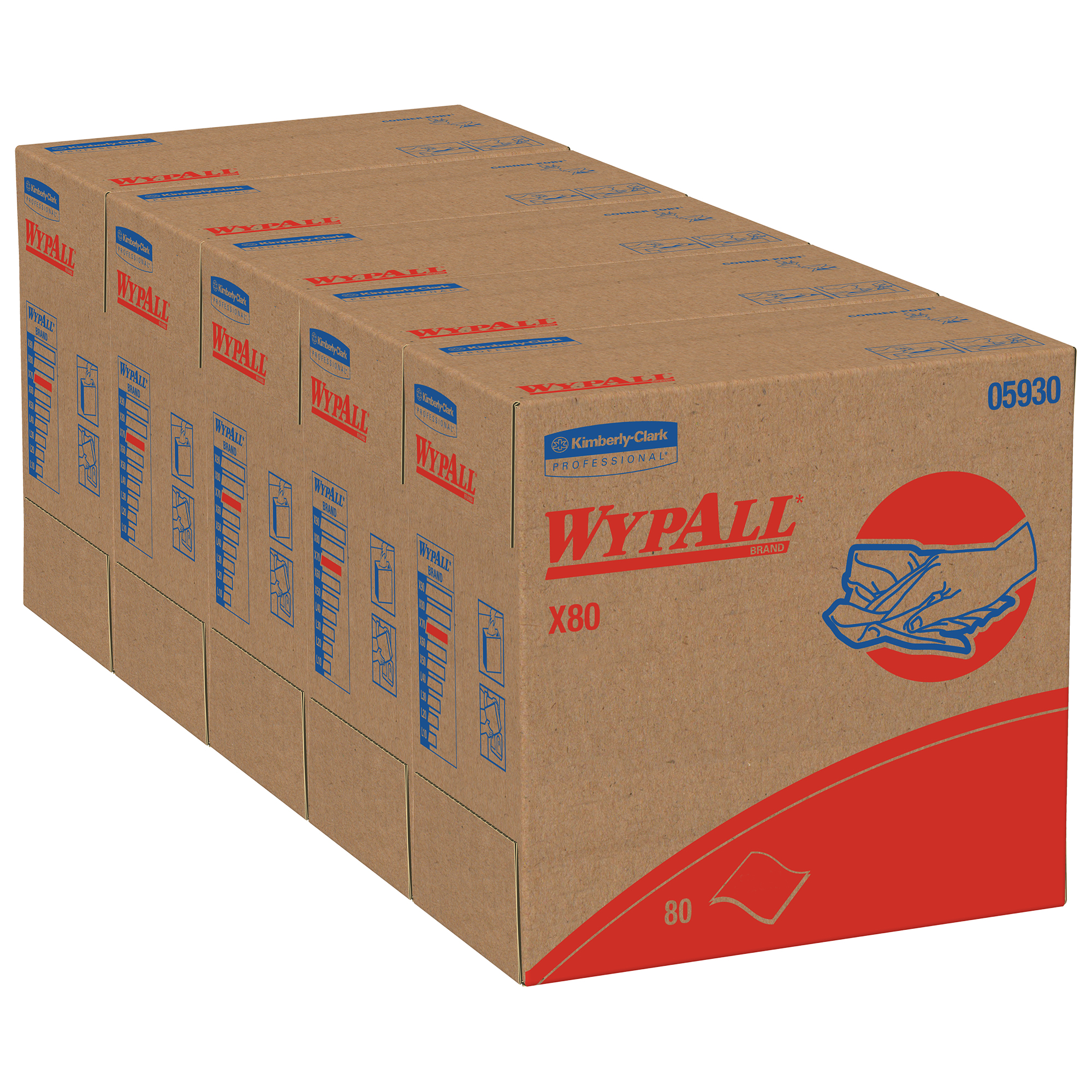 Picture of X80 Cloths With Hydroknit, 9.1 X 16.8, Red, Pop-Up Box, 80/box, 5 Box/carton