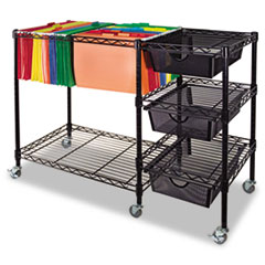 Picture of Mobile File Cart w/Drawers, 38w x 15 1/2d x 28h, Black