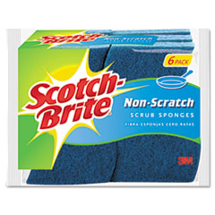 Picture of Non-Scratch Multi-Purpose Scrub Sponge, 4 2/5 x 2 3/5, Blue, 6/Pack