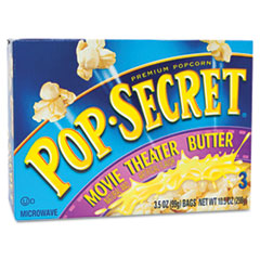Picture of Microwave Popcorn, Movie Theater Butter, 3.5oz Bags, 3/Box