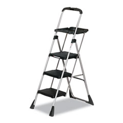 Picture of Max Work Steel Platform Ladder, 22w x 31d x 55h, 3-Step, Black