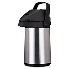 Picture of Direct Brew/Serve Insulated Airpot with Carry Handle, 2200mL, Stainless Steel