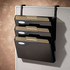 Picture of Classic Four-Pocket Hanger Set for Partitions, Legal/Printout, Smoke