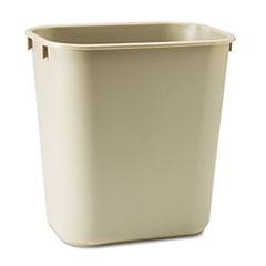 Picture of Deskside Plastic Wastebasket, Rectangular, 3 1/2 gal, Beige