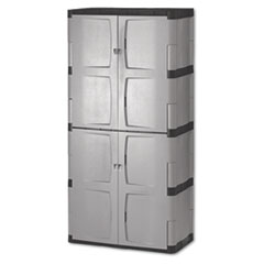 Picture of Double-Door Storage Cabinet - Base/Top, 36w x 18d x 72h, Gray/Black