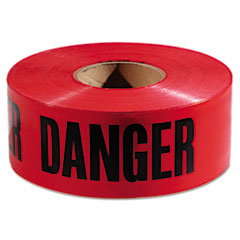 "Picture of Danger Barricade Tape, ""Danger"" Text, 3"" x 1000ft, Red/Black"