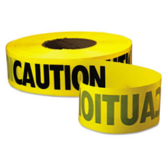 "Picture of Caution Barricade Tape, ""Caution"" Text, 3"" x 1000ft, Yellow/Black"