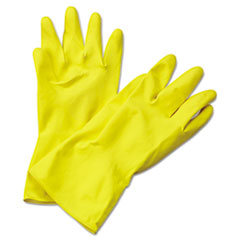 Picture of Flock-Lined Latex Cleaning Gloves, X-Large, Yellow, 12 Pairs
