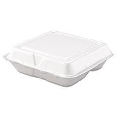 Picture of Carryout Food Container, Foam, 3-Comp, White, 8 x 7 1/2 x 2 3/10, 200/Carton