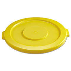 """Picture of Round Flat Top Lid, for 32-Gallon Round Brute Containers, 22 1/4"""", dia., Yellow"""