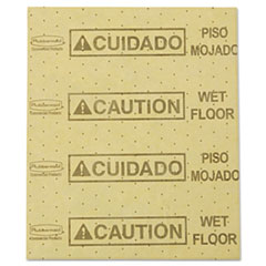 "Picture of Over-the-Spill Pad, ""Caution Wet Floor"", Yellow, 16 1/2"" x 20"", 25 Sheets/Pad"