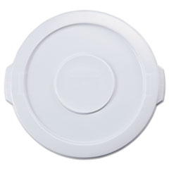 """Picture of Flat Top Lid for 10-Gallon Round Brute Containers, 16"""" dia., White"""