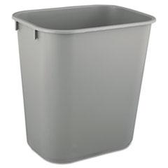 Picture of Deskside Plastic Wastebasket, Rectangular, 3 1/2 gal, Gray