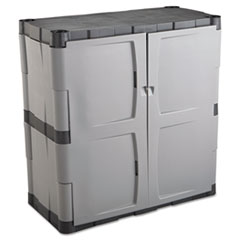 Picture of Double-Door Storage Cabinet - Base, 36w x 18d x 36h, Gray/Black