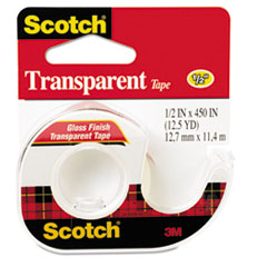 "Picture of Transparent Tape in Hand Dispenser, 1/2"" x 450"", 1"" Core, Clear"