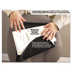Picture of Deluxe Lumbar Support Cushion w/Memory Foam, 12 1/2w x 2 1/2d x 7 1/2h, Black