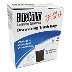 Picture of Drawstring Trash Bags, 13gal, 0.8mil, 24 x 28, White, 80/Box