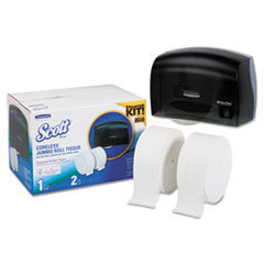"Picture of Coreless JRT Bath Tissue Dispenser Kit, 17.25"" x 11.81"" x 11.56"", Smoke/White"