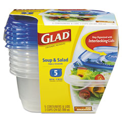 Picture of GladWare Soup and Salad Food Storage Containers 24 oz, 5/Pack