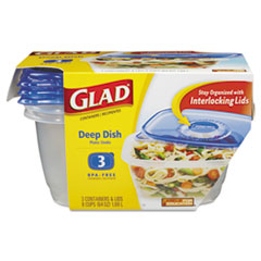 Picture of GladWare Deep Dish Food Storage Containers, 64 oz, 3/Pack