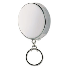 """Picture of Key Reel with 24"""" Retractable Chain, 2"""" Dia., Nickel, Silver"""