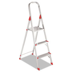 Picture of #566 Folding Aluminum Euro Platform Ladder, 3-Step, Red