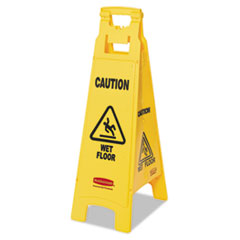 Picture of Caution Wet Floor Floor Sign, 4-Sided, Plastic, 12 x 16 x 38, Yellow