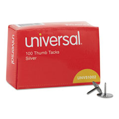 """Picture of Thumb Tacks, Steel, Silver, 5/16"""", 100/Box"""