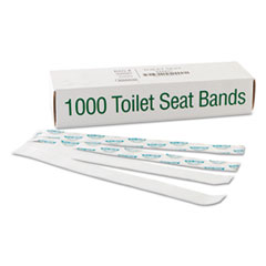 """Picture of Sani/Shield Printed Toilet Seat Band, Paper, Blue/White, 16"""" Wide x 1-1/2"""" Deep"""