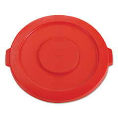 """Picture of Round Flat Top Lid, for 32-Gallon Round Brute Containers, 22 1/4"""", dia., Red"""