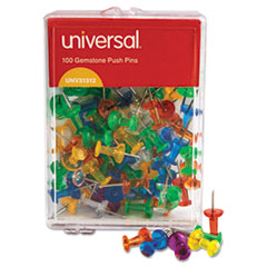"""Picture of Colored Push Pins, Plastic, Gemstone, 3/8"""", 100/Pack"""