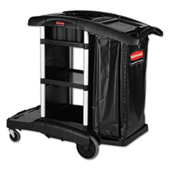 Picture of Executive High Capacity Janitorial Cleaning Cart, 22.5w x 38.5d x 20.5h, Black