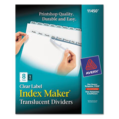Picture of Index Maker Print & Apply Clear Label Plastic Dividers, 8-Tab, Letter