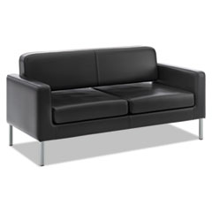 Picture of VL888 Series Reception Seating Sofa, 67 x 28 x 30 1/2, Black SofThread™ Leather