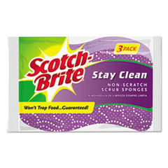 Picture of Stay Clean Non-Scratch Scrub Sponges, 3 3/16 x 7/8 x 4 3/4, Purple, 3/Pack