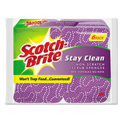 Picture of Stay Clean Non-Scratch Scrub Sponges, 3 3/16 x 7/8 x 4 3/4, Purple, 6/Pack