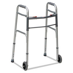 "Picture of Two-Button Release Folding Walker with Wheels, Silver/Gray, Aluminum, 32-38""H"