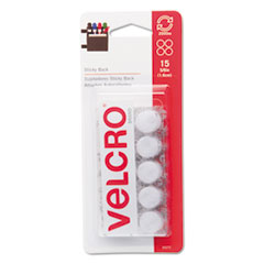Picture of Sticky-Back Hook and Loop Dot Fasteners on Strips, 5/8 dia., White, 15 Sets/Pack