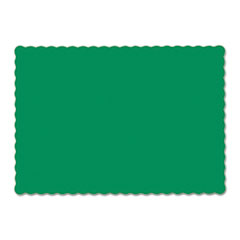 Picture of Solid Color Scalloped Edge Placemats, 9 1/2 x 13 1/2, Jade, 1000/Carton