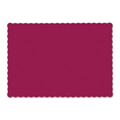 Picture of Solid Color Scalloped Edge Placemats, 9 1/2 x 13 1/2, Burgundy, 1000/Carton