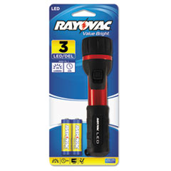 Picture of Flashlight, Rubber & Aluminum, 3 V, LED, Red/Black, 2 AA