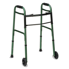 "Picture of 2-Button Release Folding Walker w/Wheels, Green/Green Ice, Aluminum, 32-38""H"