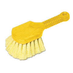 "Picture of Long Handle Scrub, 8"" Plastic Handle, Yellow Handle w/Yellow Bristles"