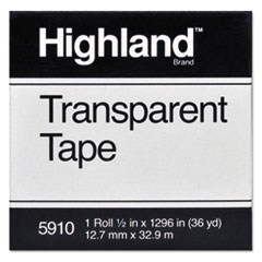 "Picture of Transparent Tape, 1/2"" x 1296"", 1"" Core, Clear"