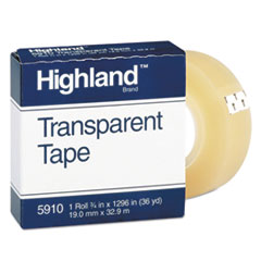 "Picture of Transparent Tape, 3/4"" x 1296"", 1"" Core, Clear"