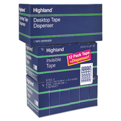 "Picture of Invisible Permanent Mending Tape, 3/4"" x 1000"", 1"" Core, Clear, 12/Pack"