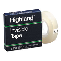 "Picture of Invisible Permanent Mending Tape, 1/2"" x 1296"", 1"" Core, Clear"