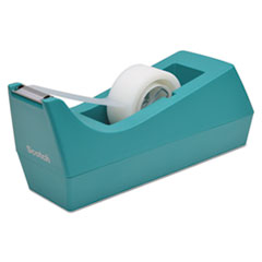 "Picture of Desktop Tape Dispenser, 1"" Core, Weighted Non-Skid Base, Emerald"