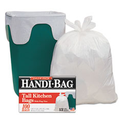 Picture of Super Value Pack Trash Bags, 13gal, 0.6mil, 23 3/4 x 28, White, 100/Box